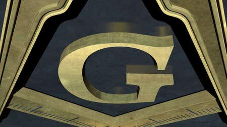 fraternity: Free Masonic Grand Lodge Sign Editorial 3D Illustration