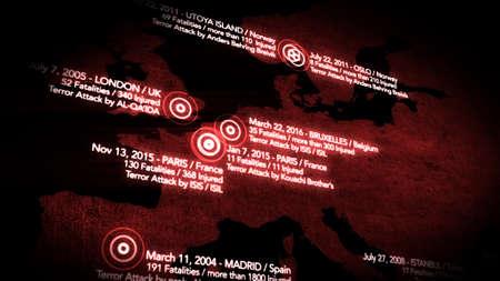 decade: Map of Major Terrorist Attacks in Europe between 2000-2016 Illustration