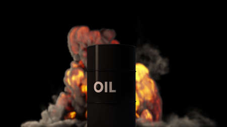 Raging Fire Blast behind Oil Barrel Oil Price Crisis Concept 3D Illustration