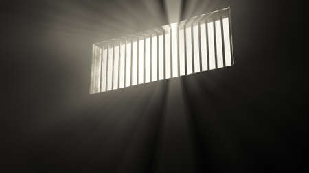 prison cell: Lightrays Shine through Rails in Demolished Solitary Confinement Prison Cell 3D Illustration Stock Photo