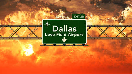 highway love: Passing under Dallas Love Field USA Airport Highway Sign in a Beautiful Cloudy Sunset 3D Illustration Stock Photo