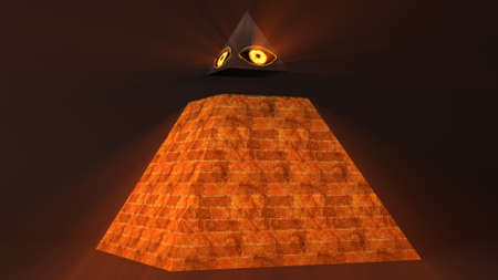 eye 3d: All Seeing Eye of God , The Eye of Providence Pyramid Illuminati Symbol 3D Illustration