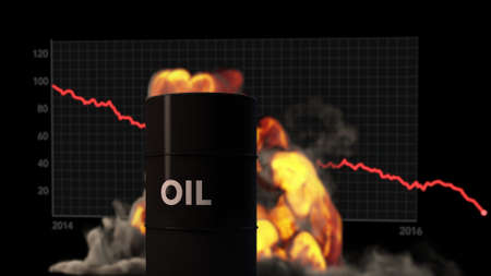 raging: Raging Fire Blast behind Oil Barrel Oil Price Crisis Concept 3D Illustration