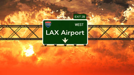 lax: Passing under Los Angeles LAX USA Airport Highway Sign in a Beautiful Cloudy Sunset 3D Illustration Stock Photo