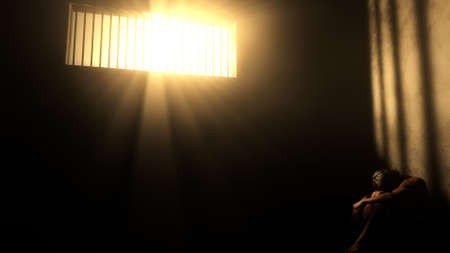 confinement: Prisoner in Bad Condition in Demolished Solitary Confinement under Lightrays 3D Illustration Stock Photo