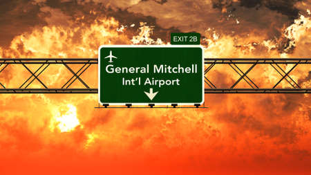 Passing under Milwaukee Gnereal Mitchell USA Airport Highway Sign in a Beautiful Cloudy Sunset 3D Illustration Stock Photo