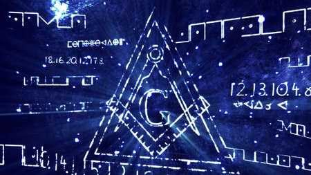 fraternity: The Free Masonic Grand Lodge Sign and Illuminati Secret Characters in an Abstract Drawing Grungy Design Editorial Illustration