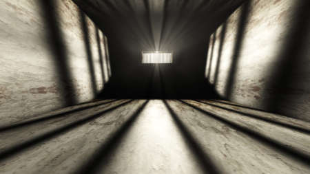 bar scene: Lightrays Shine through Rails in Demolished Solitary Confinement Prison Cell 3D Illustration Stock Photo