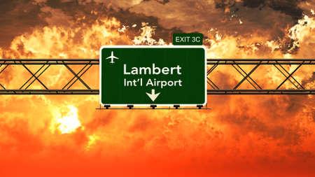 louis: Passing under Saint Louis Lambert USA Airport Highway Sign in a Beautiful Cloudy Sunset 3D Illustration
