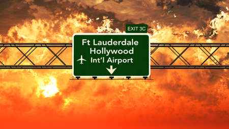 Passing under Fort Lauderdale Hollywood USA Airport Highway Sign in a Beautiful Cloudy Sunset 3D Illustration