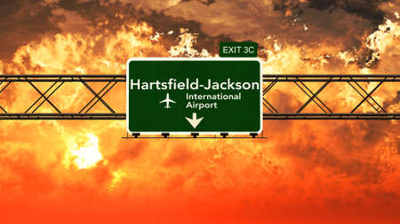 passing the road: Passing under Atlanta USA Airport Highway Sign in a Beautiful Cloudy Sunset 3D Illustration
