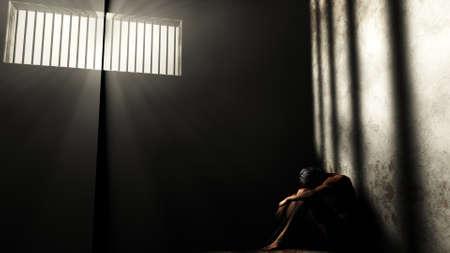 prisoner of war: Prisoner in Bad Condition in Demolished Solitary Confinement under Lightrays 3D Illustration Stock Photo