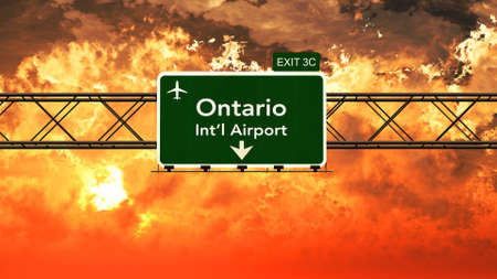 Passing under Ontario USA Airport Highway Sign in a Beautiful Cloudy Sunset 3D Illustration Stock Photo