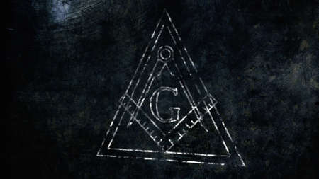 illuminati: The Free Masonic Grand Lodge Sign and Illuminati Secret Characters in an Abstract Drawing Grungy Design Editorial Illustration