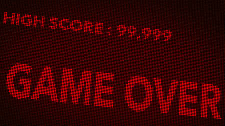 over: Game Over Retro Video Game Display Illustration Stock Photo