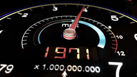 incremental: Meter Showing the Change of World Population over Time until Today 3D Illustration