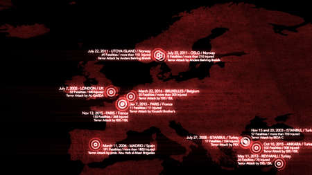 attacks: Map of Major Terrorist Attacks in Europe between 2000-2016 Illustration