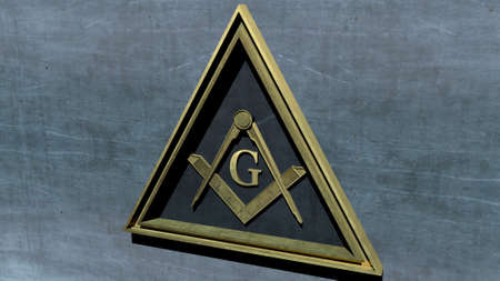 editorial: Free Masonic Grand Lodge Sign Editorial 3D Illustration