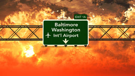 passing: Passing under Baltimore USA Airport Highway Sign in a Beautiful Cloudy Sunset 3D Illustration