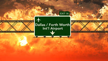 forth: Passing under Dallas Forth Worth USA Airport Highway Sign in a Beautiful Cloudy Sunset 3D Illustration Stock Photo