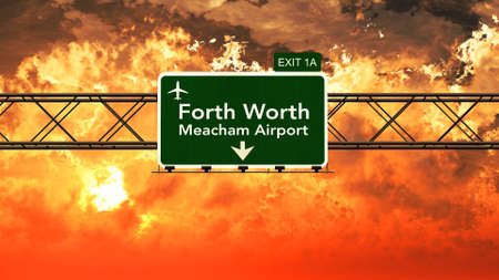 forth: Passing under Forth Worth USA Airport Highway Sign in a Beautiful Cloudy Sunset 3D Illustration