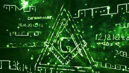 illuminati: The Free Masonic Grand Lodge Sign and Illuminati Secret Characters in an Abstract Drawing Grungy Design Editorial Illustration
