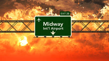 Passing under Chicago Midway USA Airport Highway Sign in a Beautiful Cloudy Sunset 3D Illustration