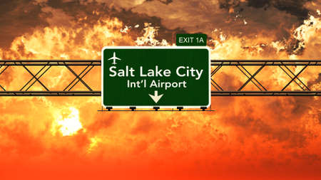 salt lake city: Passing under Salt Lake City USA Airport Highway Sign in a Beautiful Cloudy Sunset 3D Illustration