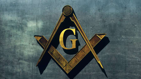 lodge: Free Masonic Grand Lodge Sign Editorial 3D Illustration