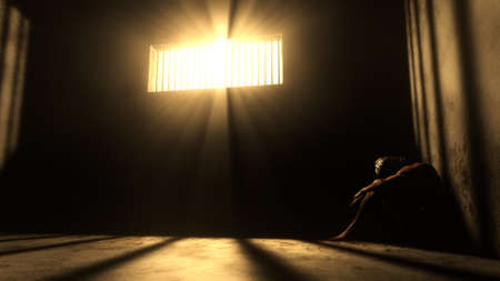 redemption: Prisoner in Bad Condition in Demolished Solitary Confinement under Lightrays 3D Illustration Stock Photo