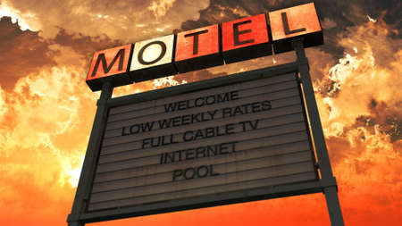 weary: Old Grungy Motel Sign Closeup in a Wonderful Sunset 3D Illustration Stock Photo