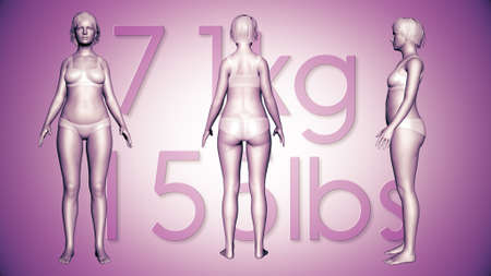 losing: 3D Illustration of a Fat Woman Losing Body Weight and BMI Index Stock Photo