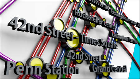 3d animation: Subway Lines and Stations of New York City subways Manhattan 3D IllustrationThis is NOT the official NYC Subway map.