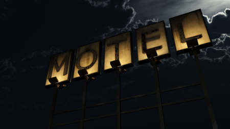 guest house: Old Grungy Motel Sign On the Road at Night 3D Illustration