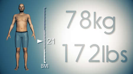 losing: 3D Illustration of an Obese Man Losing Body Weight and BMI Index