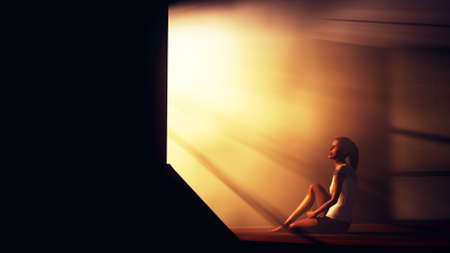 hopeful: Lonely Woman in Melancholy Sitting in an Empty Room against Lightrays 3D Illustration Stock Photo