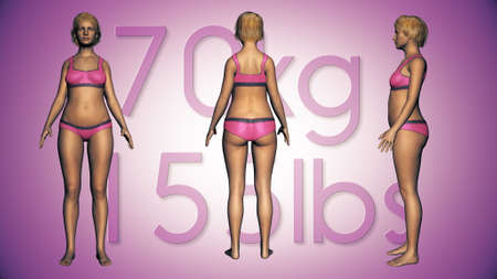BMI: 3D Illustration of a Fat Woman Losing Body Weight and BMI Index Stock Photo