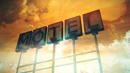 Old Grungy Motel Sign Closeup in a Wonderful Sunset 3D Illustration Stock Photo