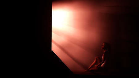 lonesome: Lonely Woman in Melancholy Sitting in an Empty Room against Lightrays 3D Illustration Stock Photo