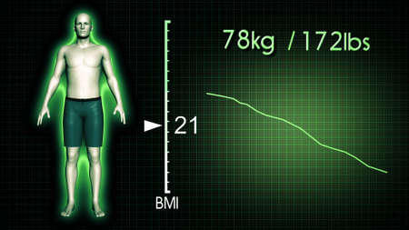computer simulation: 3D Illustration of an Obese Man Losing Body Weight and BMI Index