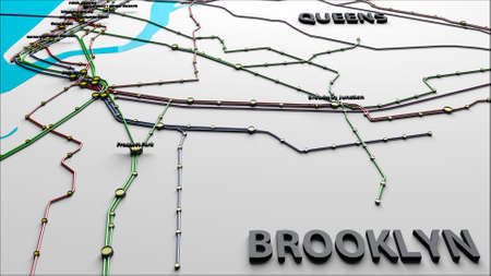Subway Lines and Stations of New York City subways Brooklyn Queens 3D IllustrationThis is NOT the official NYC Subway map.