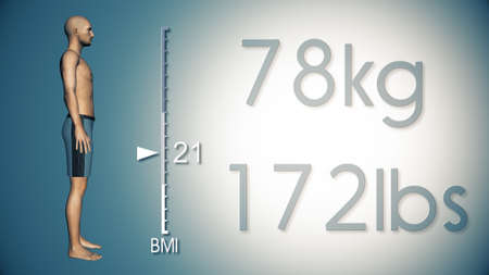 BMI: 3D Illustration of an Obese Man Losing Body Weight and BMI Index