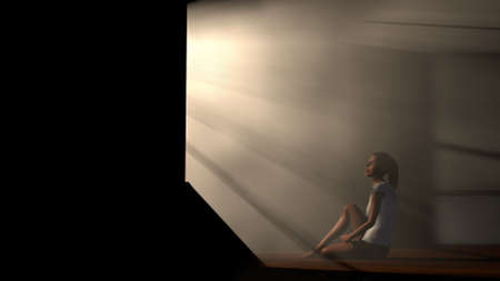 lightrays: Lonely Woman in Melancholy Sitting in an Empty Room against Lightrays 3D Illustration Stock Photo