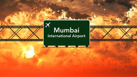 mumbai: Mumbai India Airport Highway Sign in an Amazing Sunset Sunrise 3D Illustration Stock Photo