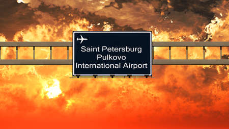 saint petersburg: Saint Petersburg Pulkovo Russia Airport Highway Sign in an Amazing Sunset Sunrise 3D Illustration