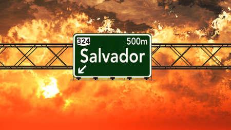 Salvador Brazil Highway Sign in a Breathtaking Sunset Sunrise 3D Illustration Stock Photo
