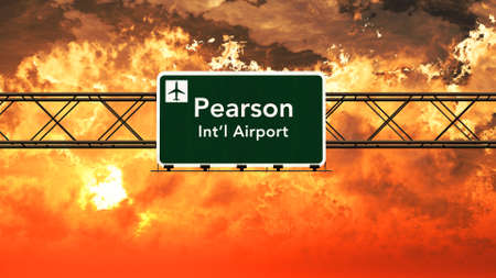 toronto: Toronto Canada Airport Highway Sign in an Amazing Sunset Sunrise 3D Illustration