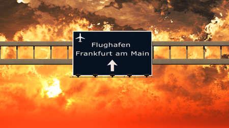 frankfurt: Frankfurt Germany Airport Highway Sign in an Amazing Sunset Sunrise 3D Illustration