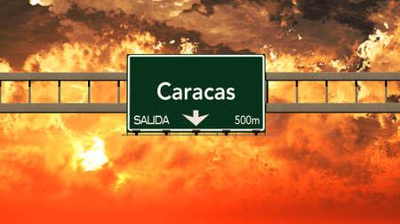 caracas: Caracas Venezuela Highway Sign in a Breathtaking Sunset Sunrise 3D Illustration