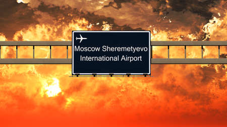 moscow russia: Sheremetyevo Moscow Russia Airport Highway Sign in an Amazing Sunset Sunrise 3D Illustration